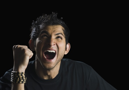 Close-up of a man shouting
