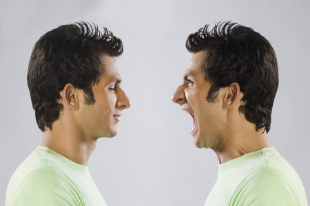 Digital composite image of a man yelling at self Stock Photo - 10166426