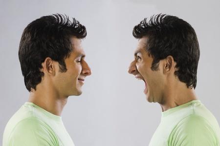 digital composite: Digital composite image of a man yelling at self