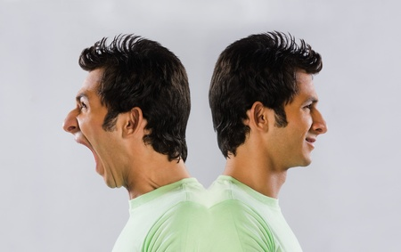 Digital composite image of a man yelling at self Stock Photo - 10169419