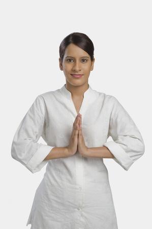 Portrait of a woman greeting Stok Fotoğraf