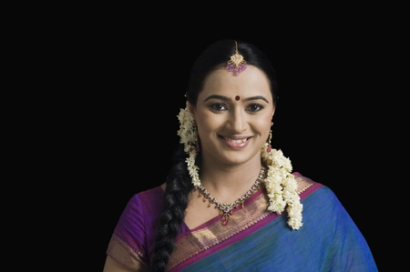 gajra: Portrait of a South Indian woman smiling