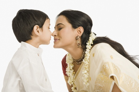 gajra: Woman nuzzling with her son