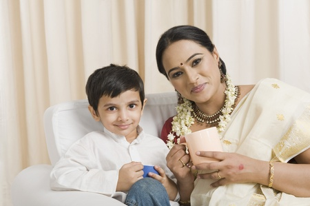 gajra: Woman with her son having coffee