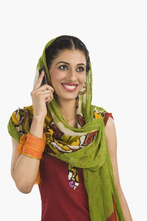 Sikh woman talking on a mobile phone