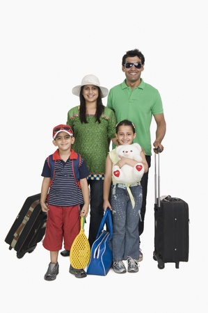 indian subcontinent ethnicity: Portrait of a family going for vacations