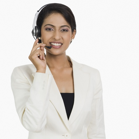 customer service representative: Close-up of a female customer service representative