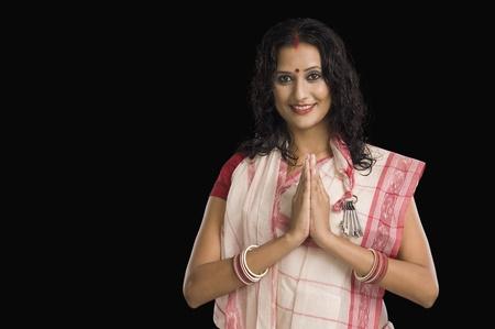 bengali: Portrait of a Bengali woman greeting