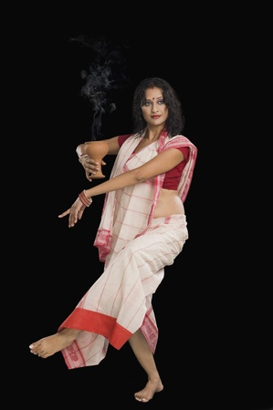 Bengali woman performing ritual dance Stock Photo - 10124081