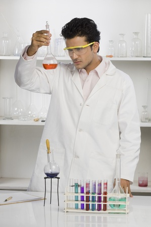 Scientist examining a flask in a laboratory Stock Photo - 10124721