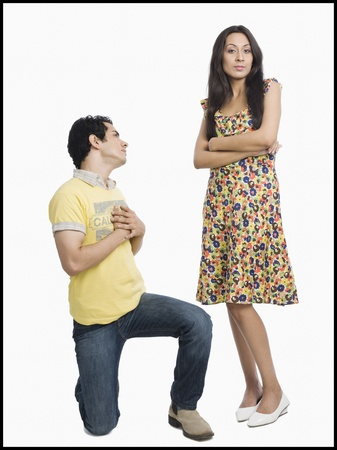 pleading: Man proposing to a woman