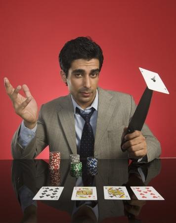 Portrait of a man gambling in a casino