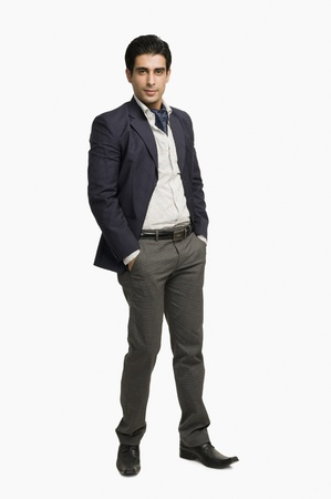 Portrait of a man posing against a white background Stock Photo