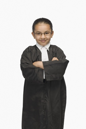 Girl dressed as a lawyer and smiling Stock Photo - 10124015