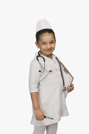 Girl dressed as a nurse and smiling