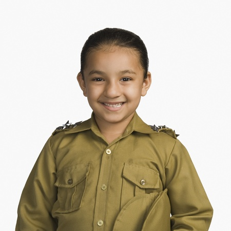 Girl dressed as a police officer and smiling Stock Photo - 10166405