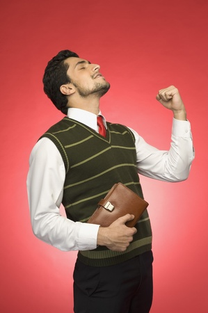 Businessman clenching his fist with excitement Stock Photo - 10167605
