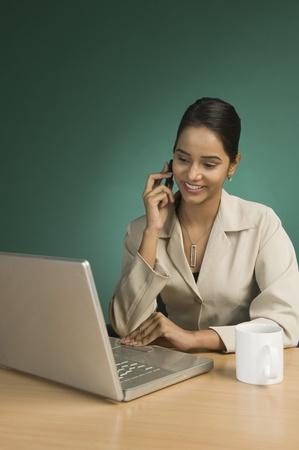 front desk: Businesswoman using a laptop and talking on a mobile phone