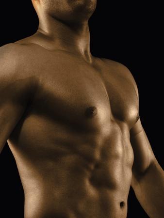 nackte brust: Mid Schnittansicht eines muskul�sen Mann