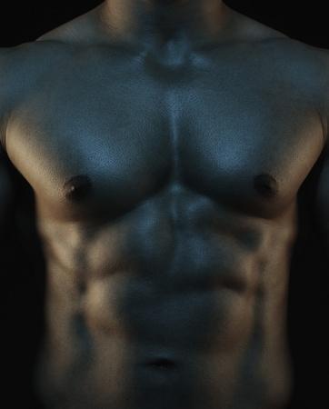 nackte brust: Mid Abschnitt Ansicht eines muskul�sen Mann zeigt seine abs