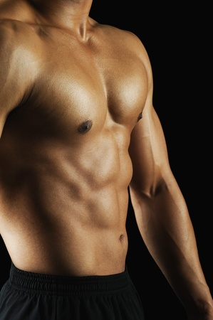 bare chest: Mid section view of a muscular man showing his abs LANG_EVOIMAGES