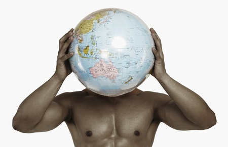 Close-up of a man holding a globe Stock Photo - 10168335