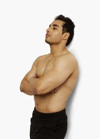 body conscious: Close-up of a man posing