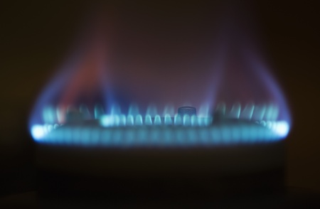 Close-up of flames on a gas stove Stok Fotoğraf