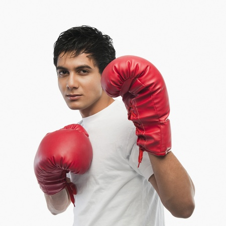 Portrait of a boxer in action Stock Photo - 10167079