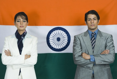 Business executives in front of an Indian flag Stock Photo - 10167931