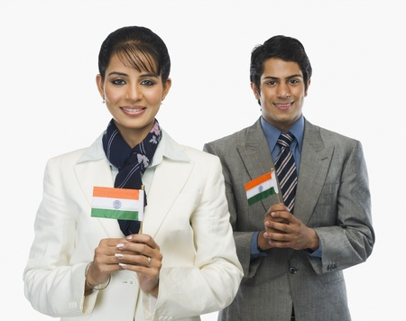 Business executives holding Indian flags Stock Photo - 10167254