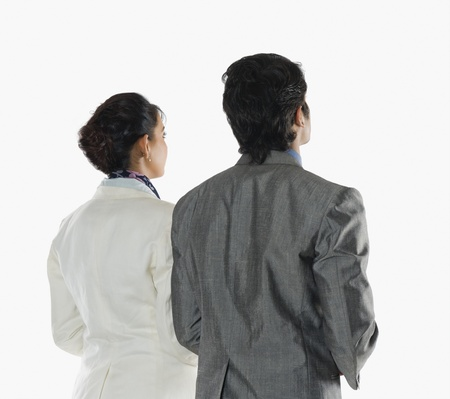 two persons only: Rear view of two business executives LANG_EVOIMAGES