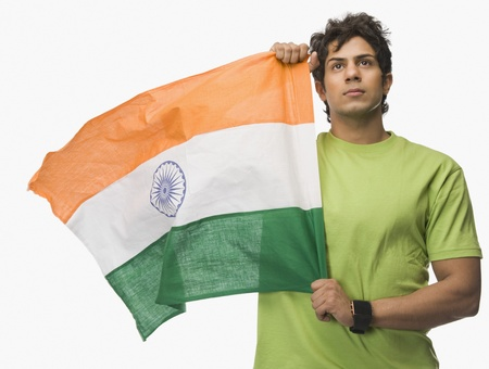 Man holding an Indian flag Stock Photo - 10167437