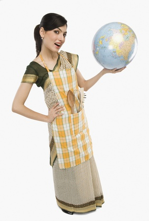 Woman holding a globe Stock Photo - 10168459