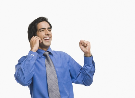Businessman raising fist while talking on a mobile phone Stock Photo - 10168785