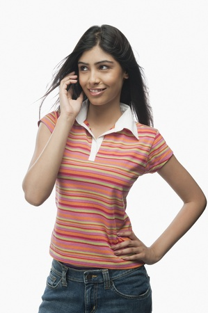 Close-up of a woman talking on a mobile phone Stock Photo - 10168134