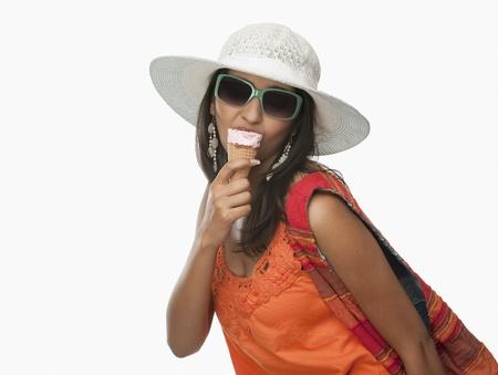 Woman eating an ice cream cone