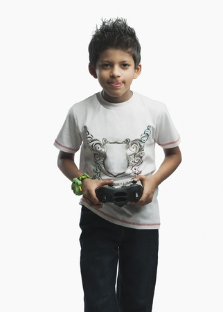 Portrait of a boy playing a video game