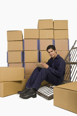 Store incharge checking inventory Stock Photo - 10167409