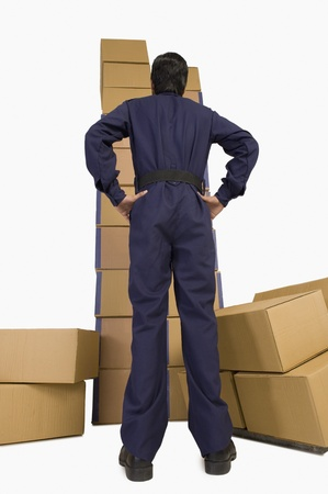 Rear view of a store incharge looking at cardboard boxes Stock Photo - 10167103