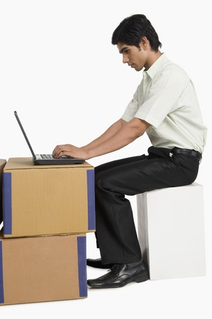 Store incharge using a laptop in a warehouse Stock Photo - 10168546