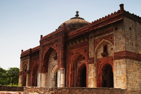 Facade of a mosque in a fort, Old Fort, Delhi, India photo