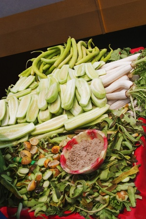 Cucumber and radish at a market stall, New Delhi, India photo