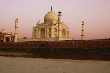 River in front of the mausoleum, Yamuna River, Taj Mahal, Agra, Uttar Pradesh, India