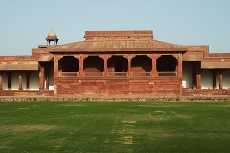fortified wall: Lawn in front of a fortified wall, Agra Fort, Agra, Uttar Pradesh, India