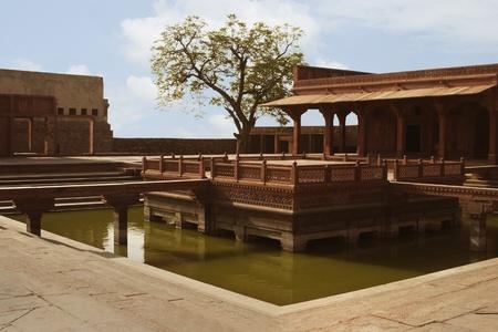 fatehpur sikri: Pond in a palace, Fatehpur Sikri, Agra, Uttar Pradesh, India