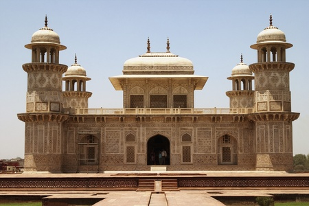 Facade of a mausoleum, Itmad-ud-Daulahs Tomb, Agra, Uttar Pradesh, India photo