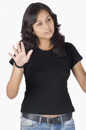 Close-up of a woman gesturing photo