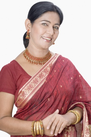 only mature women: Portrait of a woman wearing a sari Stock Photo