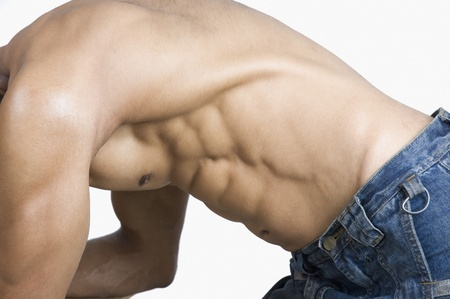Close-up of a man flexing muscles